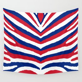 UK British Union Jack Red White and Blue Zebra Stripes Wall Tapestry