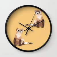 ferret Wall Clocks featuring Ferret. by Diana D'Achille