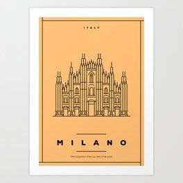 Minimal Milano City Poster Art Print