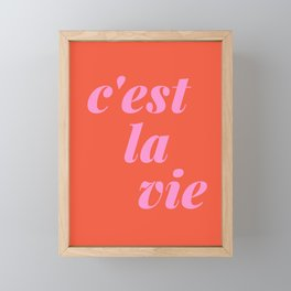 C'est La Vie French Language Saying in Bright Pink and Orange Framed Mini Art Print
