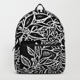 Hummingbird In Flowery Wreath Linocut Backpack