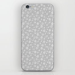 Festive Silver Grey and White Christmas Holiday Snowflakes iPhone Skin