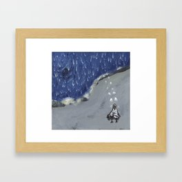 Walking up the beach Framed Art Print