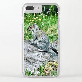 Gray squirrel on tree stump Clear iPhone Case