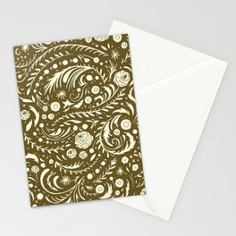 Bronze Flora Swirl Stationery Cards