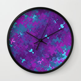 Pink, Purple, and Blue Waves Wall Clock