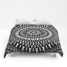 Chess Pieces Mandala - Grayscale Comforters