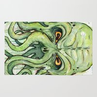 lovecraft Area & Throw Rugs featuring Cthulhu by Olechka