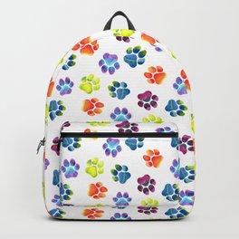 Rainbow Paw Print Pattern Backpack