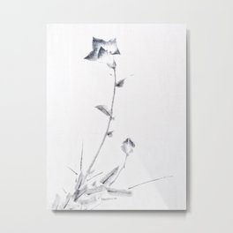 Japanese Ink Flower Blossom and Bud with Long Stalk Metal Print