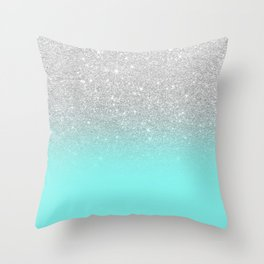 Modern girly faux silver glitter ombre teal ocean color bock Throw Pillow