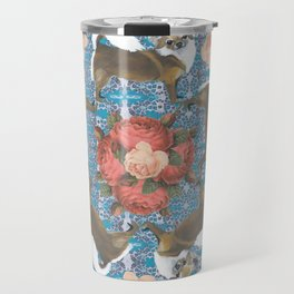 Chihuahuas Vintage Roses on Digital Background Circular Travel Mug