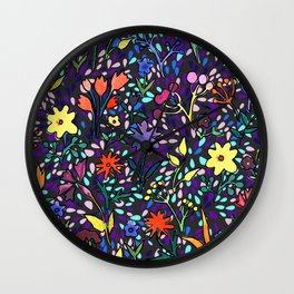 Watercolor flowers and drops Wall Clock