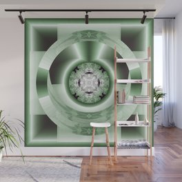 Art Deco Hub Cap in Green Wall Mural