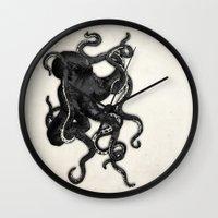 octopus Wall Clocks featuring Octopus by Nicklas Gustafsson