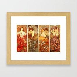 "Alphonse Mucha ""The Gem Series - Ruby, Amethyst, Emerald, Topaz"" Framed Art Print"
