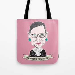 Ruth Bader Ginsburg The Notorious RBG Flaming Feminist Tote Bag