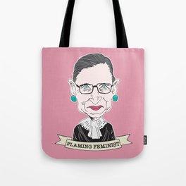 Ruth Bader Ginsburg The Notorious RBG Flaming Feminist Tote Bag