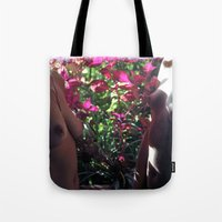 boobs Tote Bags featuring Pretty Floral Boobs by Slow Toast
