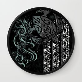 Slate Polynesian Tribal Turtle Grunge Wall Clock