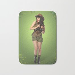 """Attention Campers"" - The Playful Pinup - Jungle Adventure Pin-up Girl by Maxwell H. Johnson Bath Mat"
