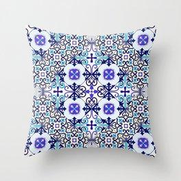 Turquoise Moroccan tile seamless pattern Throw Pillow
