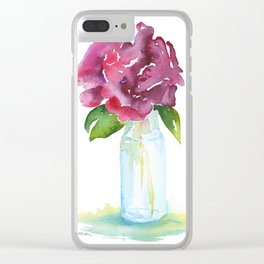 Rose in a Glass Vase Watercolor Clear iPhone Case