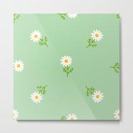 Spring Daisy Flowers Pastel Green Metal Print