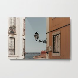 Vintage Lantern - Old buildings, Lisbon, Portugal (Europe)   Travel Photography Metal Print