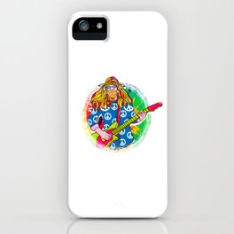 Guitar Playing Hippie for Retro Throwback Lover iPhone Case