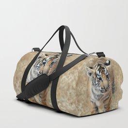 Tiger cub emerging Duffle Bag