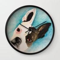 boston terrier Wall Clocks featuring Boston Terrier  by MeggaChurch