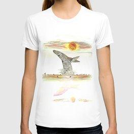 Sunset Whale Surf Lineup T-shirt
