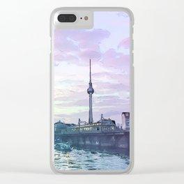 Berlin at Sunset - Illustration - Alexanderplatz - Alex TV Tower Clear iPhone Case