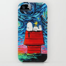 snoopy peanuts starry night iPhone Case