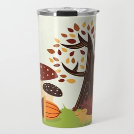 Hedgehog , forest mushrooms, autumn Travel Mug