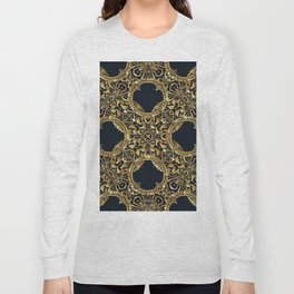 Black Gold Rococo Pattern Long Sleeve T-shirt