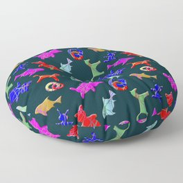 Children's toys, bears, horses, fish, bunnies of different colors on a dark background. Floor Pillow