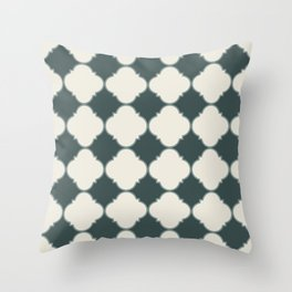 Ornamental Moroccan Alpaca Wool Cream & Night Watch Tile Pattern with Scarborough Green Border Throw Pillow