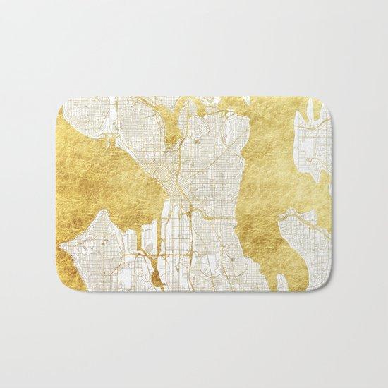 Seattle Map Gold Bath Mat