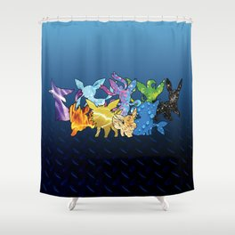 """The Dream Team"" - X & Y Eeveelutions Shower Curtain"