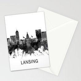 Lansing Michigan Skyline BW Stationery Cards