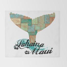 Lahaina,Maui Tapa Tribal Whales Tail Throw Blanket
