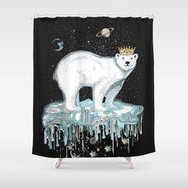 Polar bear with crown on ice floe Shower Curtain
