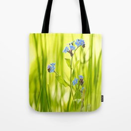 Lovely Morning Meadow Forget Me Not #decor #society6 Tote Bag