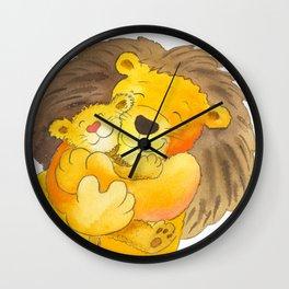 Lion Hug Wall Clock