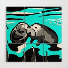 Manatee Love in blue Wood Wall Art