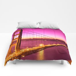 Golden Gate Love Bridge Comforters