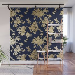 Elegant vintage navy blue faux gold flowers Wall Mural