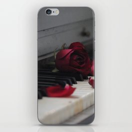 Piano with Red Rose Petals iPhone Skin
